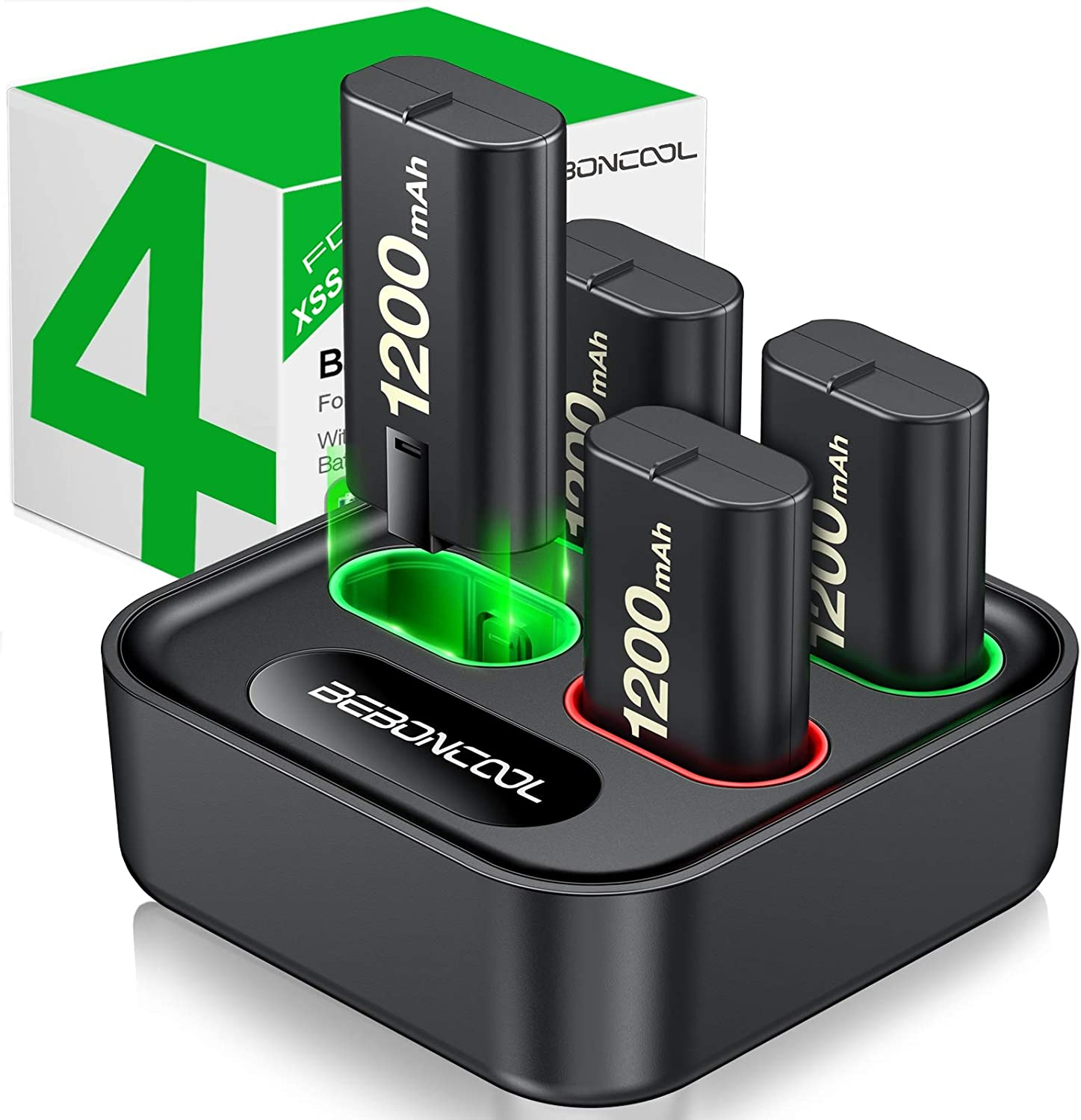 Charger for Xbox One Controller Battery Pack, with 4 x 1200mAh Rechargeable Xbox One Battery Charger Charging Kit for Xbox One Xbox Series X|S, Xbox One X/Xbox One S/Xbox One Elite Controllers