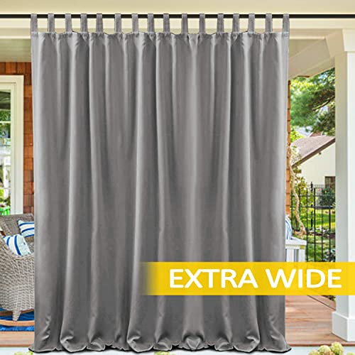 cololeaf Waterproof Pergola Outdoor Curtain Panel Drapes Blackout Outdoor D cor Tab Top Curtains Light Blocking for Patio Porch Gazebo Panel Drapery, Width 120 x Height 102 , Grey 1 Panel