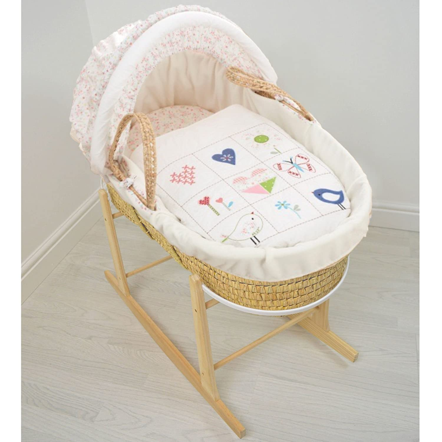 Pink CCU10528 Cuddles Collection Dolls Moses Basket With Stand