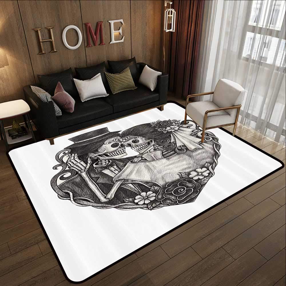 Pattern07 63\ Kids Rugs,Tattoo Decor,Throne of Mythological Hell Gate Artisan Afterlife Scene Death God Sin Souls,Grey White 63 x 94  Slip-Resistant Washable Entrance Doormat