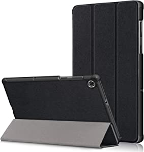 DETUOSI Smart Case Compatible with Lenovo Tab M10 HD 10.1 inch 2020 [2nd Gen] (Model: TB-X306F) Tablet,【Auto Sleep/Wake】 Slim Lightweight PU Leather Tri-Fold Magnetic Stand Shell Cover #Black