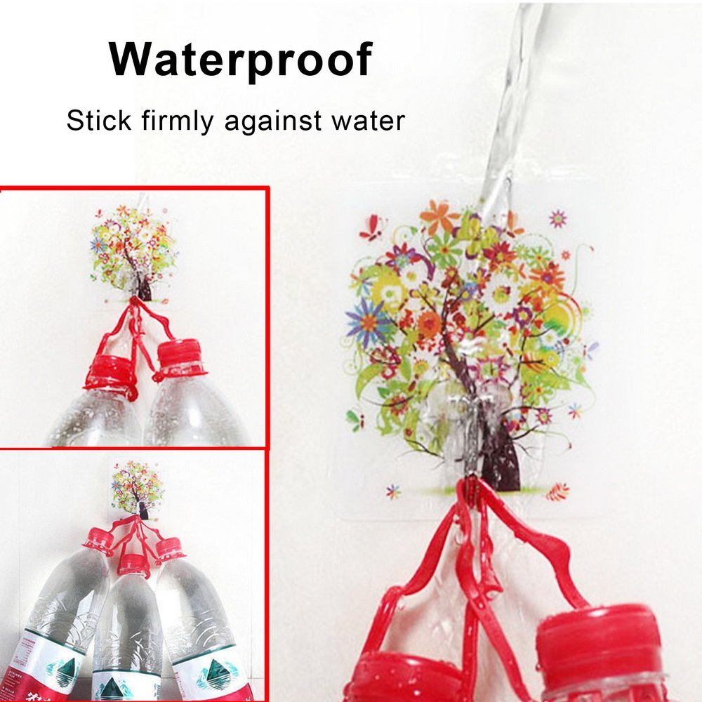 Adhesive Hooks Romantic Artistic Fashionable Traceless Strong Eco-friendly Washable Removable Reusable Waterproof Heavy-duty Flexible Durable, Max Load 22lb/10kg, 4+4 Packs (L'amour/L'océan)
