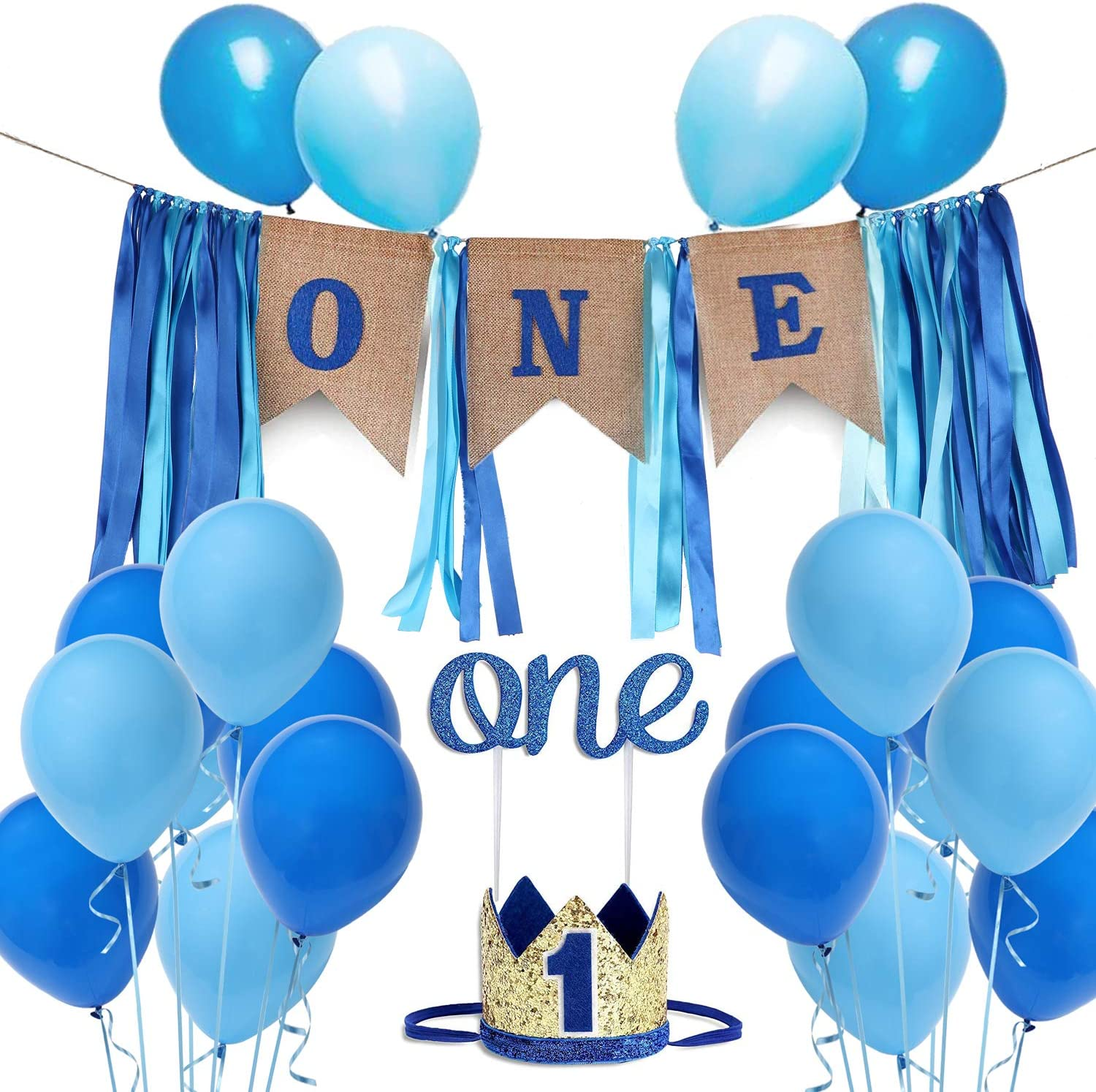 U-LIAN 1st Birthday Boy Decoration Set One Blue Birthday High Chair Banner, Glitter Cake Topper, Glitter Crown,20pcs Balloons With Streamers