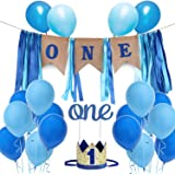 1st Birthday Boy Decoration Set One Blue Birthday High Chair Banner, Glitter Cake Topper, Glitter Crown,20pcs Balloons With Streamers