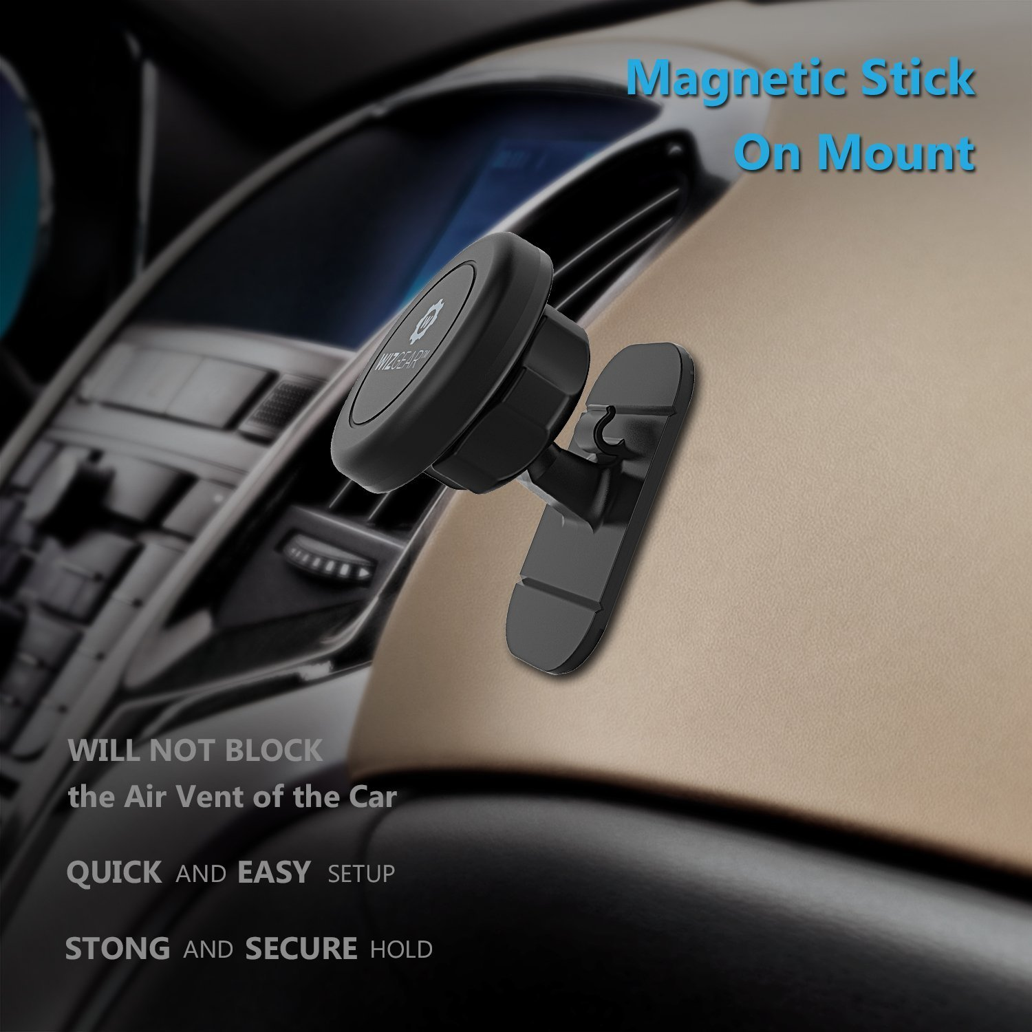 2 Pack for Cell Phones and Mini Tablets with Fast Swift-snap Technology WizGear Universal Stick On Magnetic Mount Magnetic Cell Phone Mount Magnetic stick on -mount Dashboard Magnetic Car Mount Holder