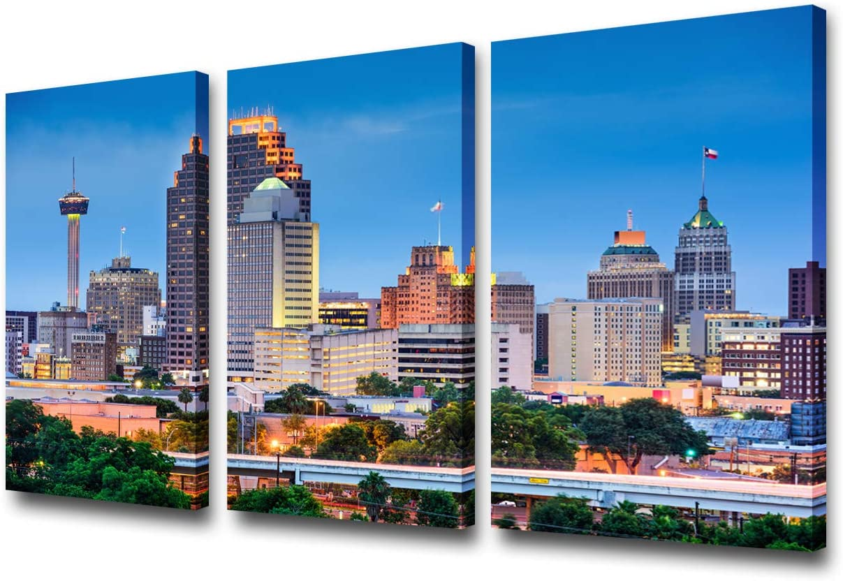 3 Pieces Wall Art Beautiful San Antonio Skyline Canvas Art Paintings for Room Decor Texas Cityscape Skyscrapers Night Scene Picture Prints On Canvas for Home Decor Modern Giclee Framed 24x36inch