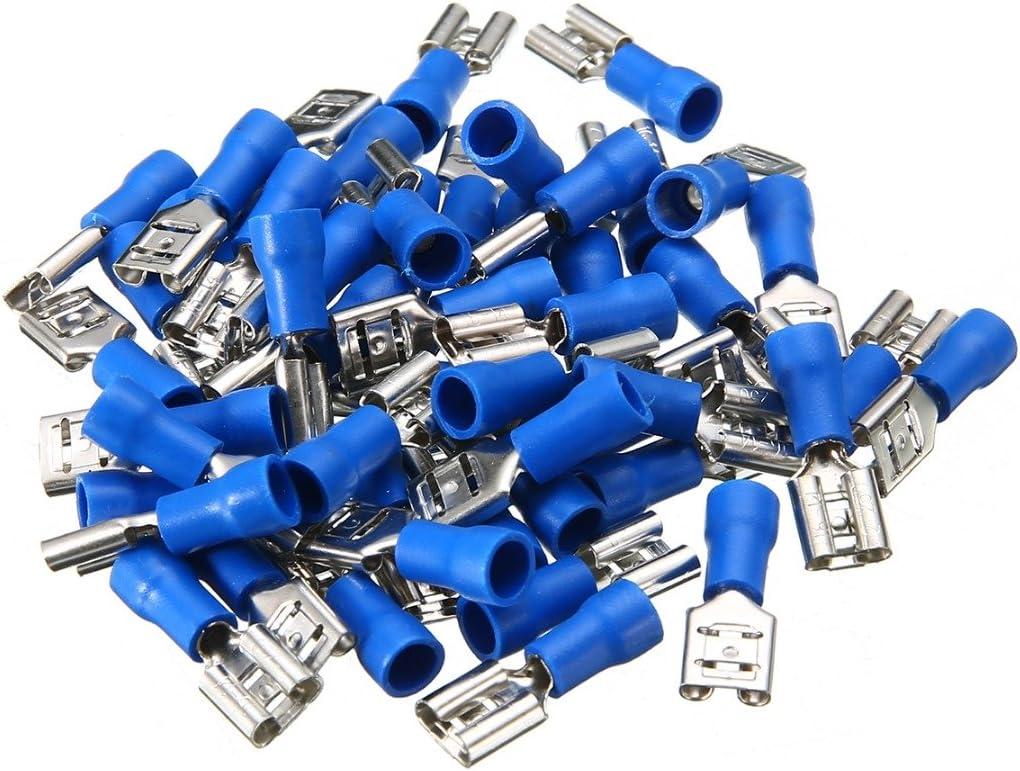 Steckbreite 6,3 mm Teilisoliert PVC weiblicher Steckverbinder FDD Kabel Verbinder aus Messing verzinnt AUPROTEC 50x Flachsteckh/ülsen 0,5-1,5 mm/² rot