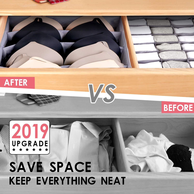 Drawer Organizer Dresser Drawer Organizer Divider Washable Large Bra Sock Underwear Tie Cloth Organizer Foldable Closet Storage Box Drawer Polyester Fabric for Baby Cloth Panties Belts Set of 4,Gray