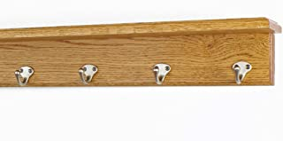 "product image for Oak Shelf Coat Rack with Satin Nickel Single Style Hooks (Golden Oak, 21"" with 4 hooks)"