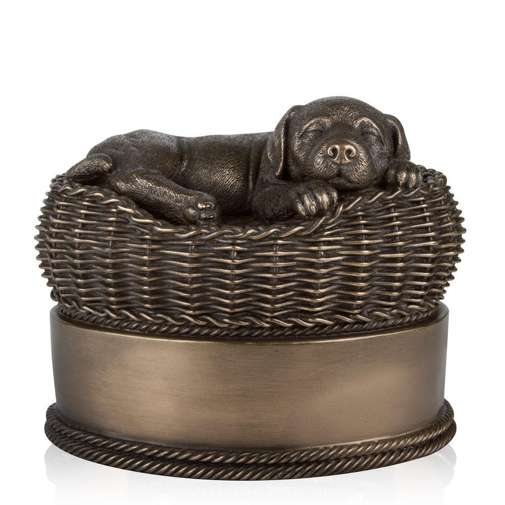Perfect Memorials Large Bronze Dog in Basket Cremation Urn by Perfect Memorials