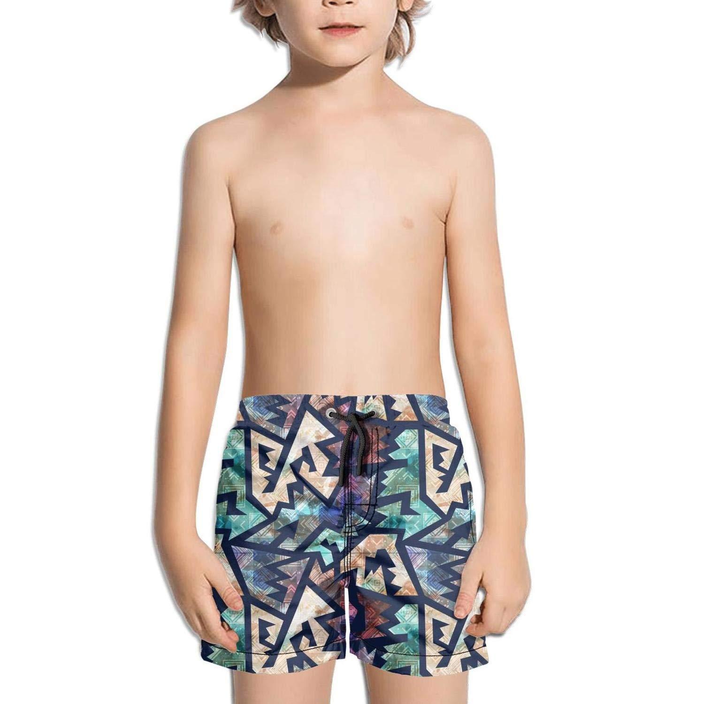 Ancient Geometric Colorful Fashion Swim Trunks BingGuiC Boys Quick Dry Shorts