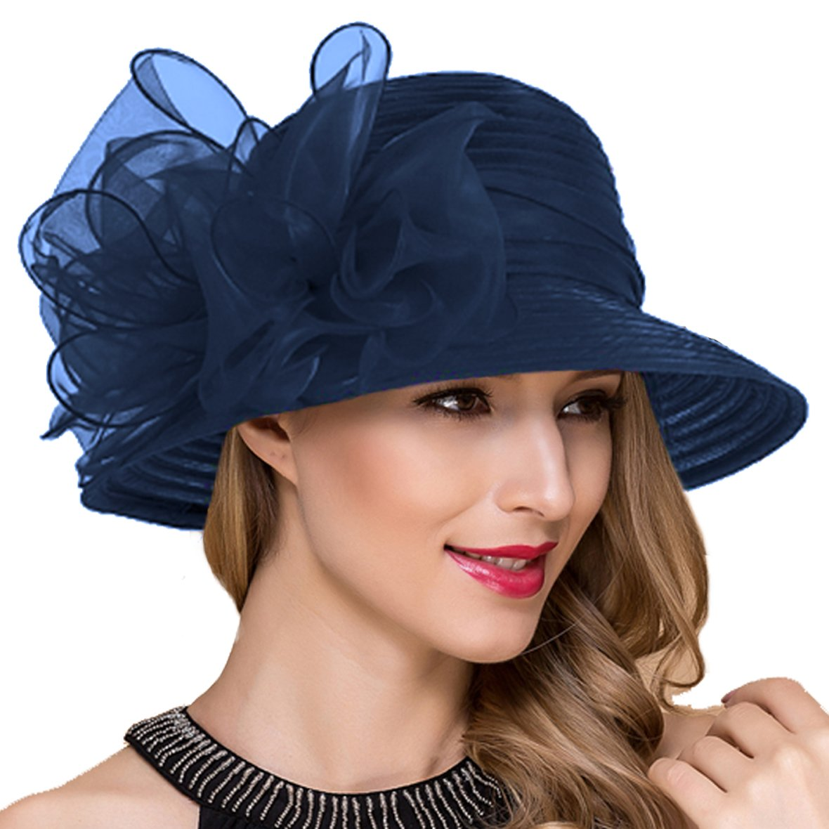 Lady Church Derby Dress Cloche Hat Fascinator Floral Tea Part Bucket Hat S051 (Navy)