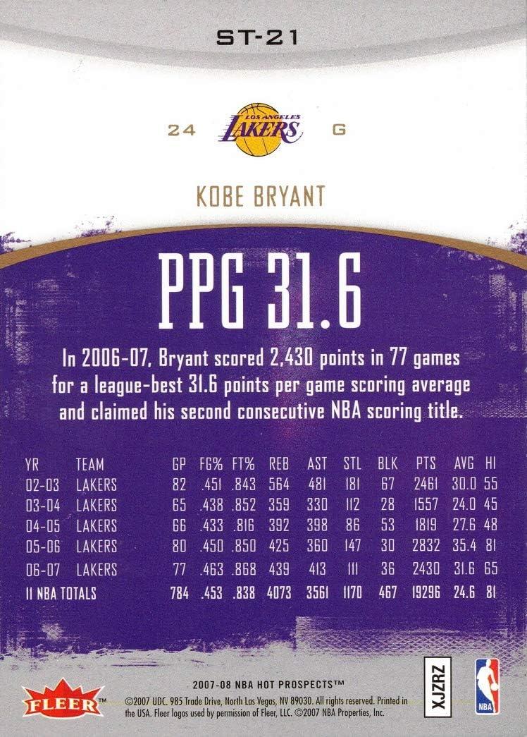 2007-08 Fleer Hot Prospects Stat Tracker #ST-21 Kobe Bryant Lakers Basketball Card