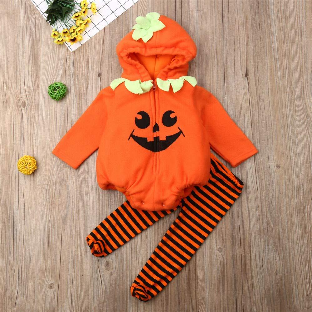 Infant Toddler Baby Girl Boy Halloween Pumpkin Costume Cute Hooded Romper Top Leggings Pants Outfit Set