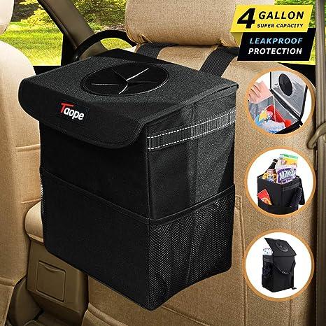 PU Leather Vehicle Trash Can Car Bag Garbage Auto Storage Bags Q