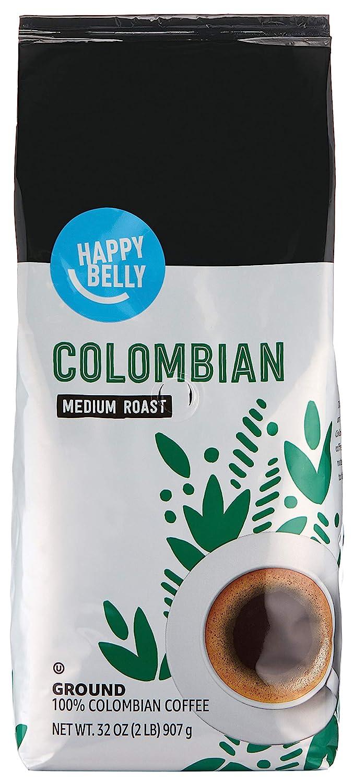 Amazon Brand - Happy Belly Colombian Ground Coffee, Medium Roast, 32 Ounce
