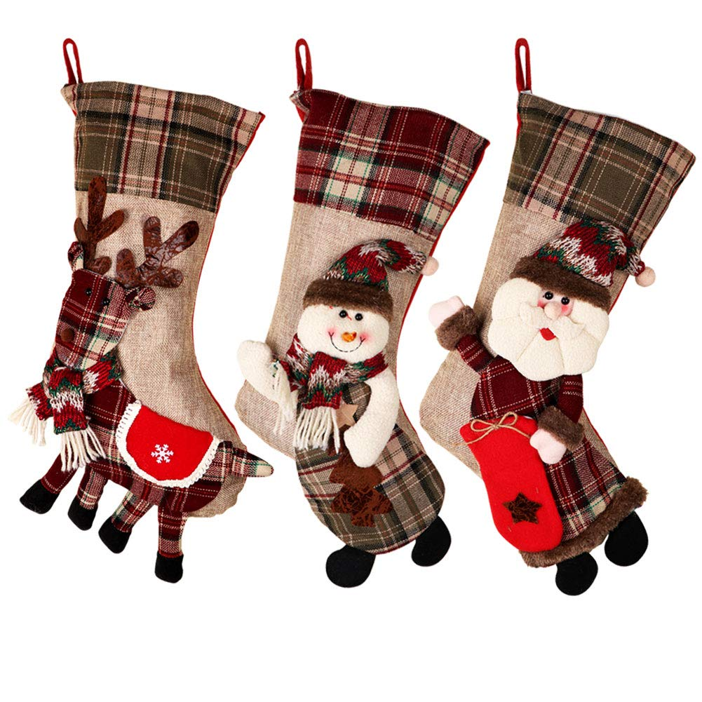 PartyTalk 18'' Large 3D Classic Christmas Stockings Set of 3 Plaid Christmas Stockings Cute Santa, Snowman Reindeer Christmas Hanging Decorations