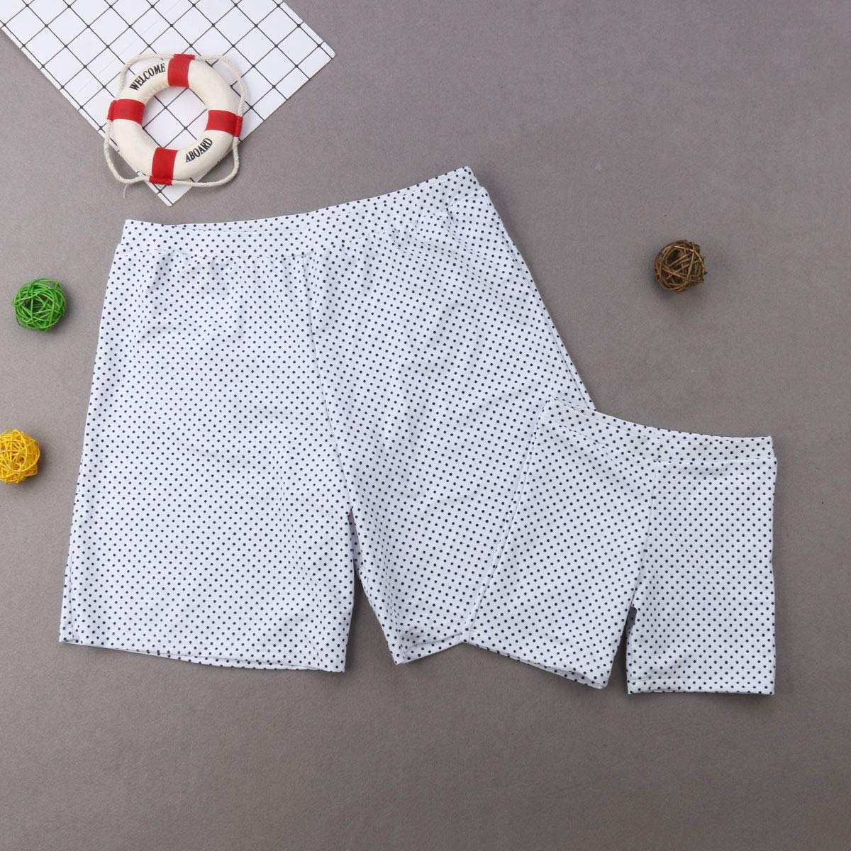 HengShunRui Family Matching Dot Print Swimwear Mommy Daddy and Me Swimsuit Parent-Child Bathing Suit