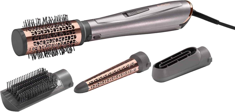 BaByliss AS136E Cepillo de aire 1000W, iónico, 4 accesorios, pala para alisar, cabezal pre-secado, cabezal cónico para ondular y cepillo térmico de 50 mm para moldear, 3 velocidades y temperaturas
