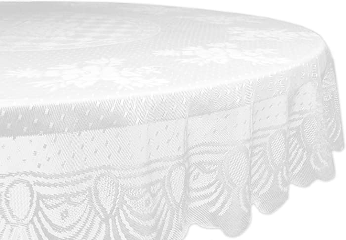 "DII Home Essentials 100% Polyester, Machine Washable, Shabby Chic, Vintage Tablecloth or Overlay 63"" Round, Floral Lace"