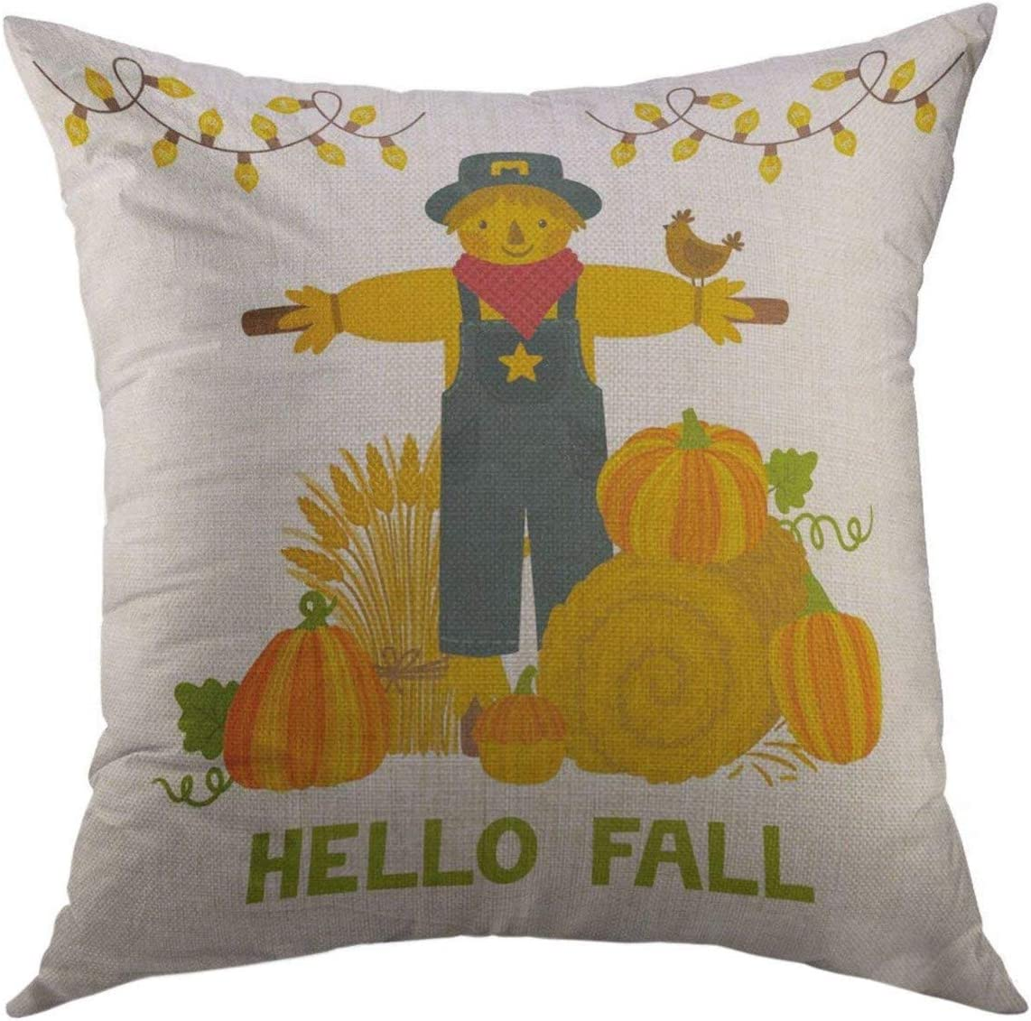 Mugod Decorative Throw Pillow Cover for Couch Sofa,Autumn with Pumpkins Hay Bale Wheat Sheaf Scarecrow Text Hello Fall Bright Harvest Festival Home Decor Pillow case 18x18 Inch