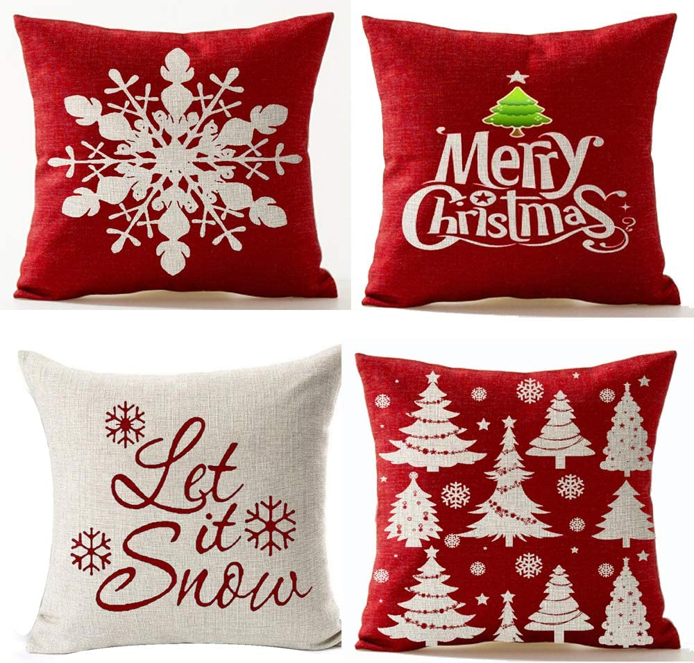 Andreannie Set of 4,Merry Let It Snow Snowflake Red Cotton Linen Decorative Throw Pillow Cover Cushion Case for Home Sofa Square 18 Inches