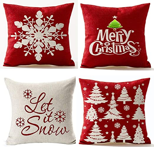 Red//White Vaulia Decorate Square Throw Pillow Cover Snowflake Embroidery Pattern for Christmas Decorations -100/% Cotton 18x18 in.