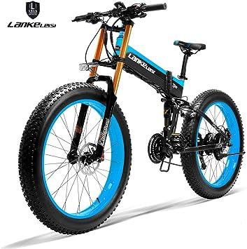 LANKELEISI 750PLUS 48 V14.5AH 1000 W motor todo-potente bicicleta eléctrica de 26 pulgadas, 4,0, neumáticos grandes de 27 velocidades, nieve, MTB, bicicleta eléctrica plegable para adulto/hombre, azul: Amazon.es: Deportes y aire libre