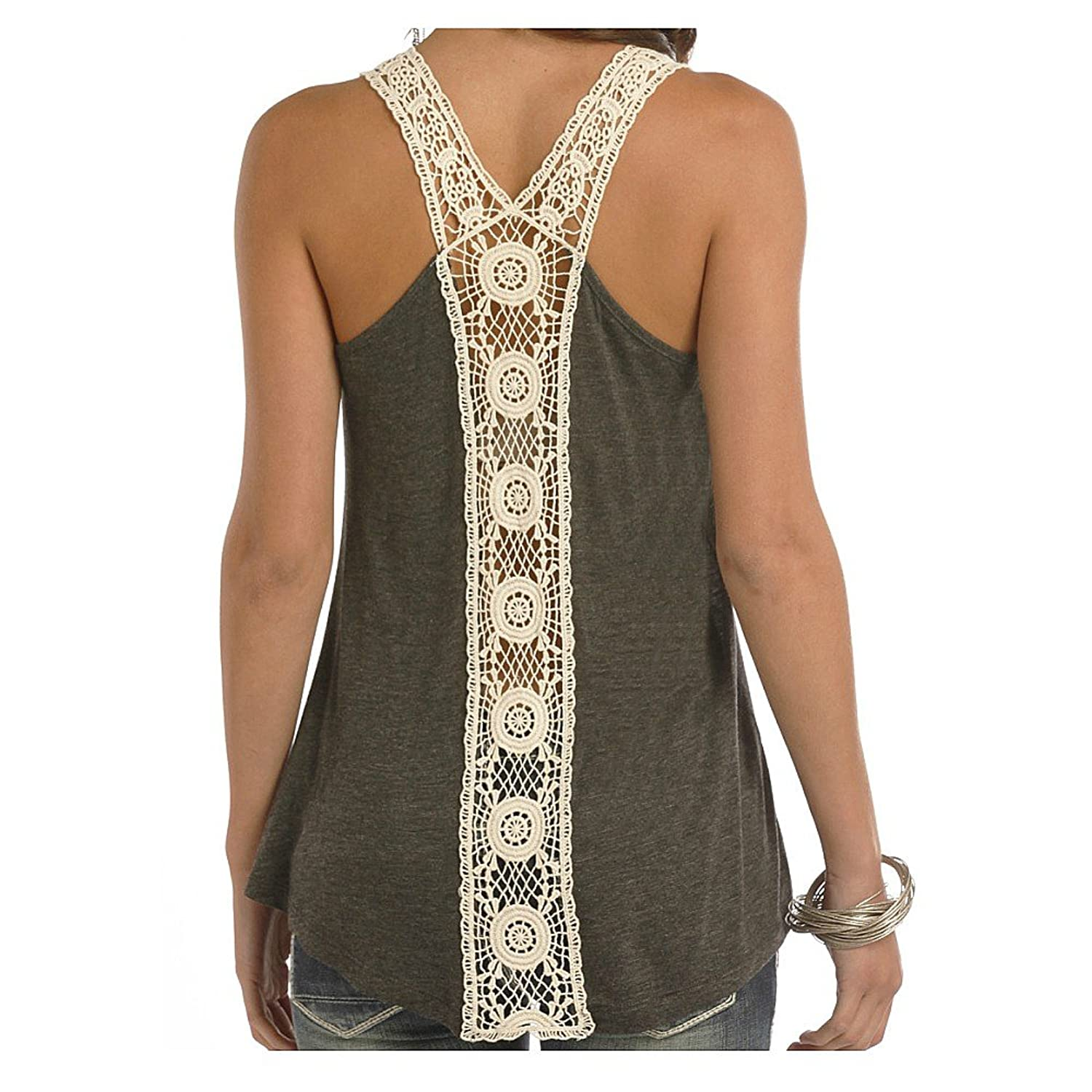 Rock And Roll Cowgirl Junior Fit Crochet Racerback Tank