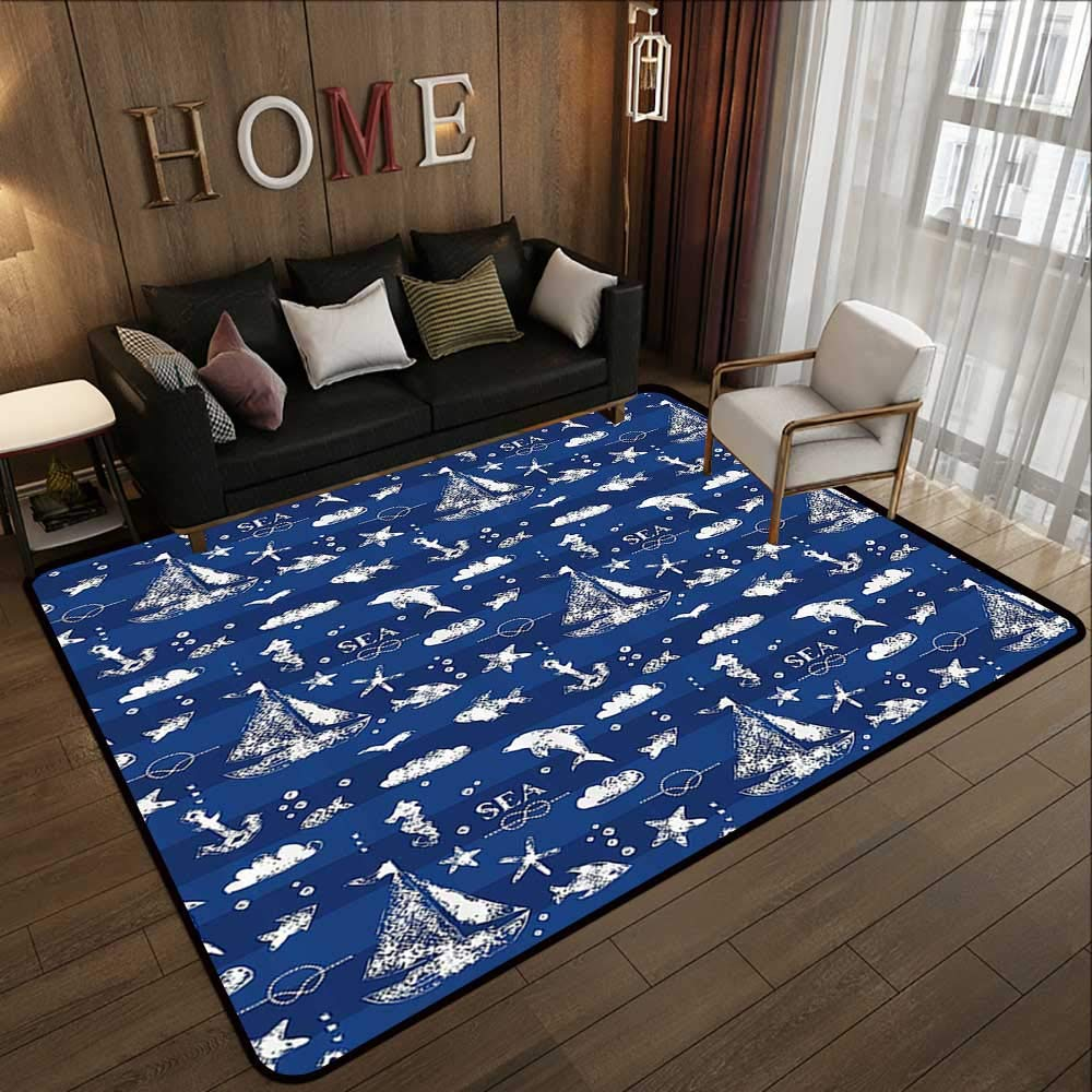 All Weather mats,Navy Blue Decor,Sailboat Over Vertical Stripe Pattern Anchor Fishes Gulls Paint Effect Nautical Theme,Blue White 47''x 59'' Soft Area Children Baby Playmats
