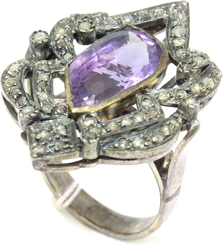 PH Anillo de plata de ley 925 con diseño victoriano con diamantes de corte rosa y amatista, 05