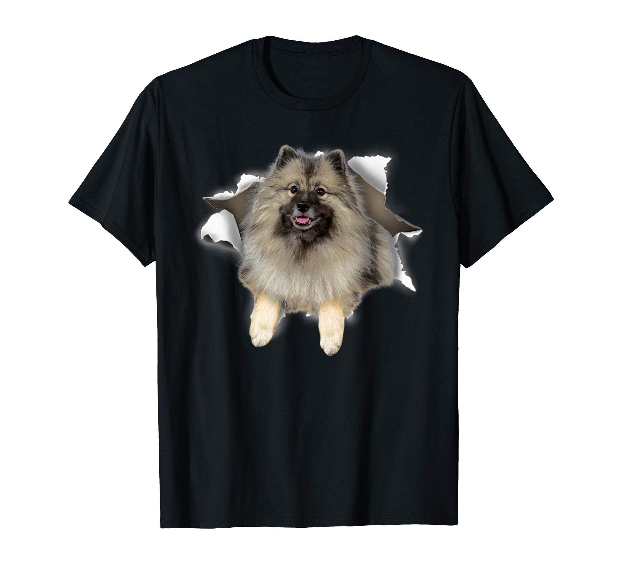 Keeshond Torn Dog Inside Hole Dog Mid Torn, Funny Dog T-Shirt 1
