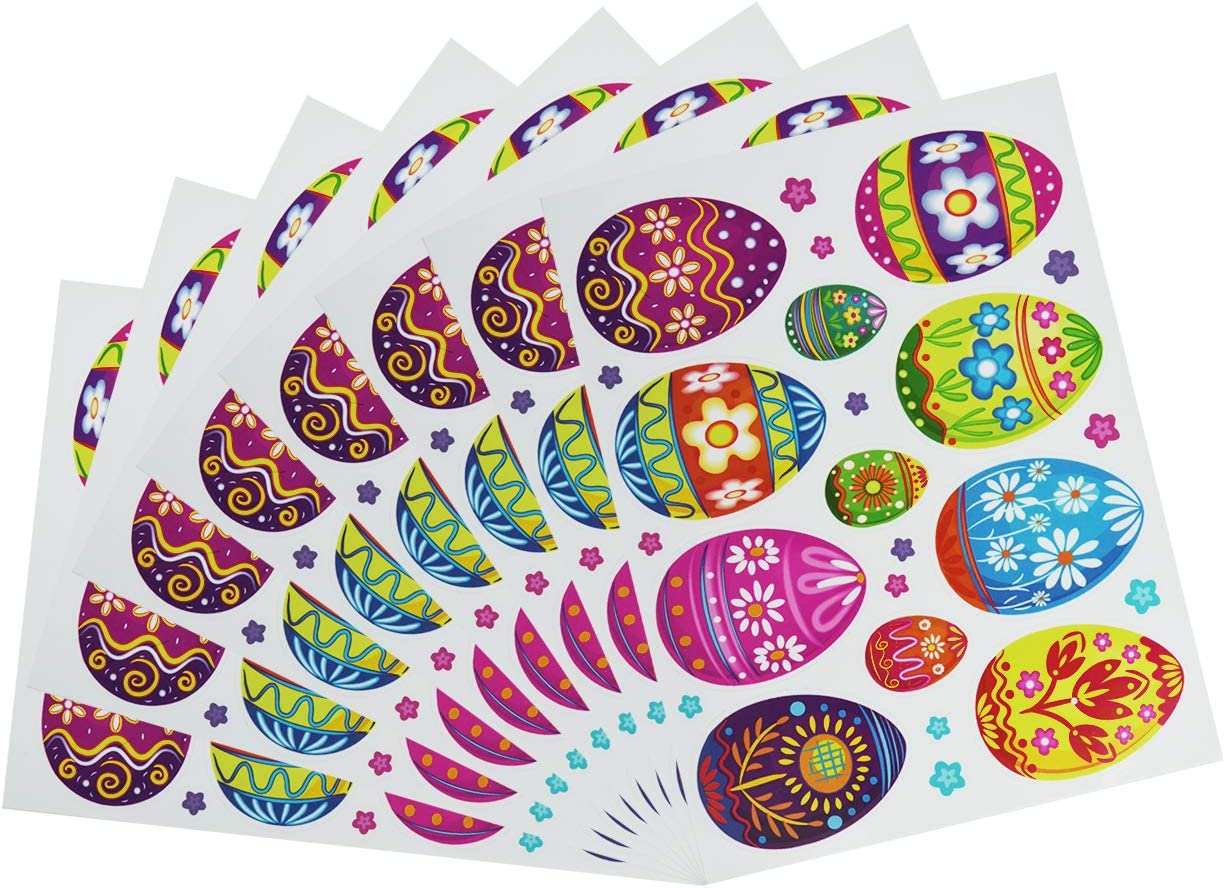 8 Sheets in Total CM Easter Egg Stickers Easter Window Clings Decals Colorful Eggs Flower Decor for Easter Home Office Wall Floor Window Decor