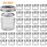 Glass Jars With Lids, VERONES Quilted Wide Mouth Crystal Jelly Glasses Set of 25 Silver(4oz), Each mini Mason Jar is Freezer, Microwave & Wider Mouth For Canning, Preserving Food.