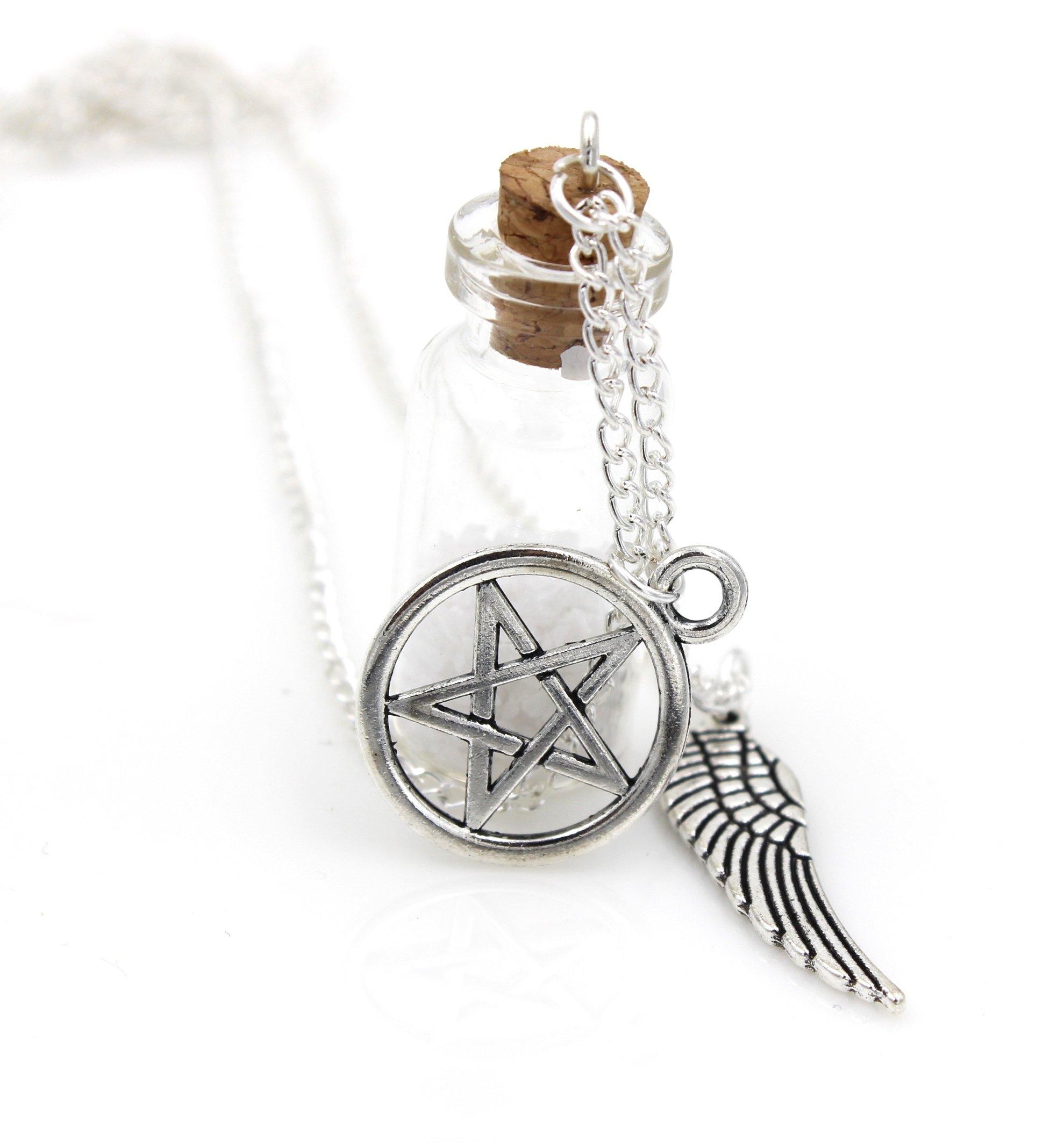 Steampunk - Supernatural Necklace - Glass Vial Bottle - feather pentagram Pentacle Castiel angel wings gothic pendant