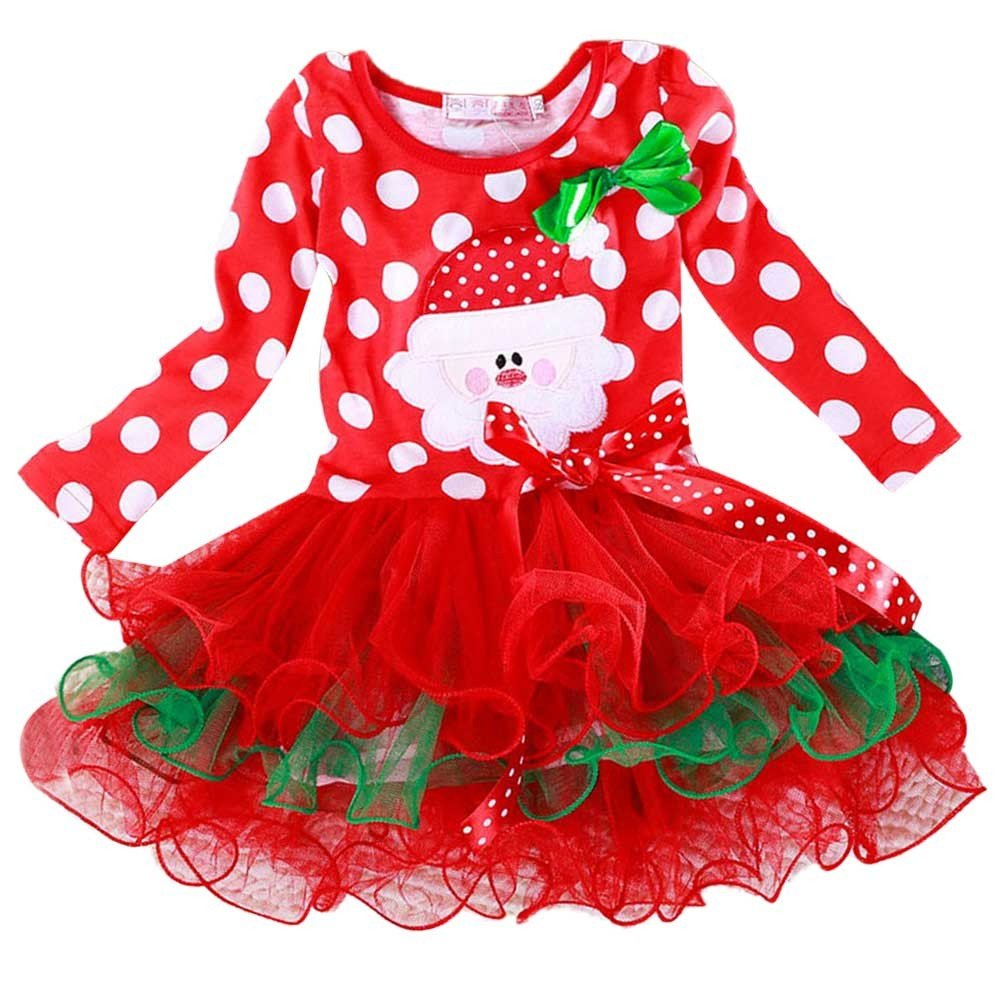 New Year Christmas Long Sleeve Polka Dot Cotton Princess Dress Cute Fashion Holiday Costume for Baby Girls 1-6 Years (=^∶^=)1PC Dress