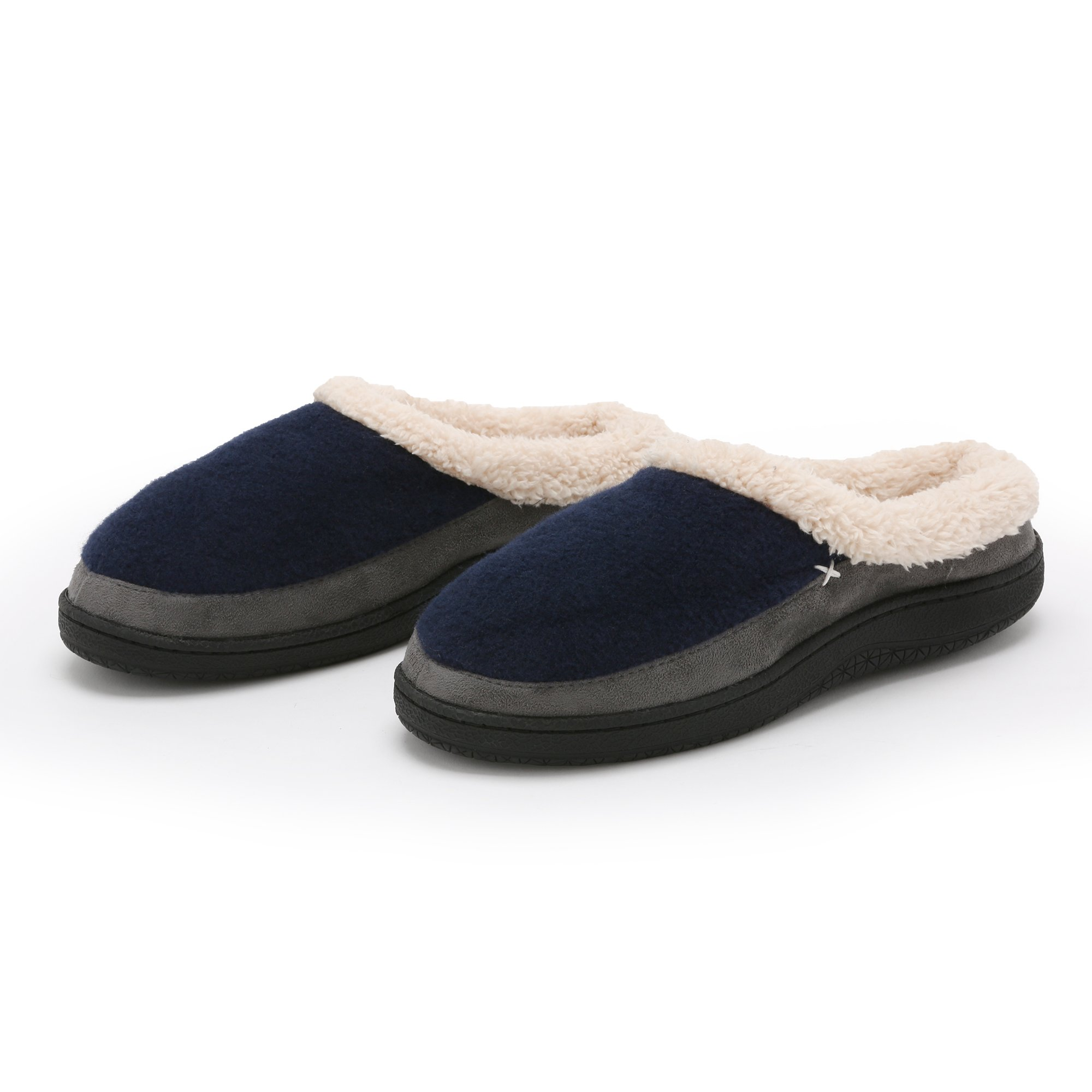 Pembrook Men's Slippers – Comfortable Memory Foam + Wool (Navy Size XL) Indoor and Outdoor Non-Skid Sole - Great Plush Slip On House Shoes for adults, Men, Boys