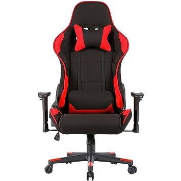 UEnjoy - Silla de Escritorio Silla de Running Negro Rojo Juego Gaming giratoria Masaje Chair Reposo Relax Confortable Ordenador: Amazon.es: Hogar