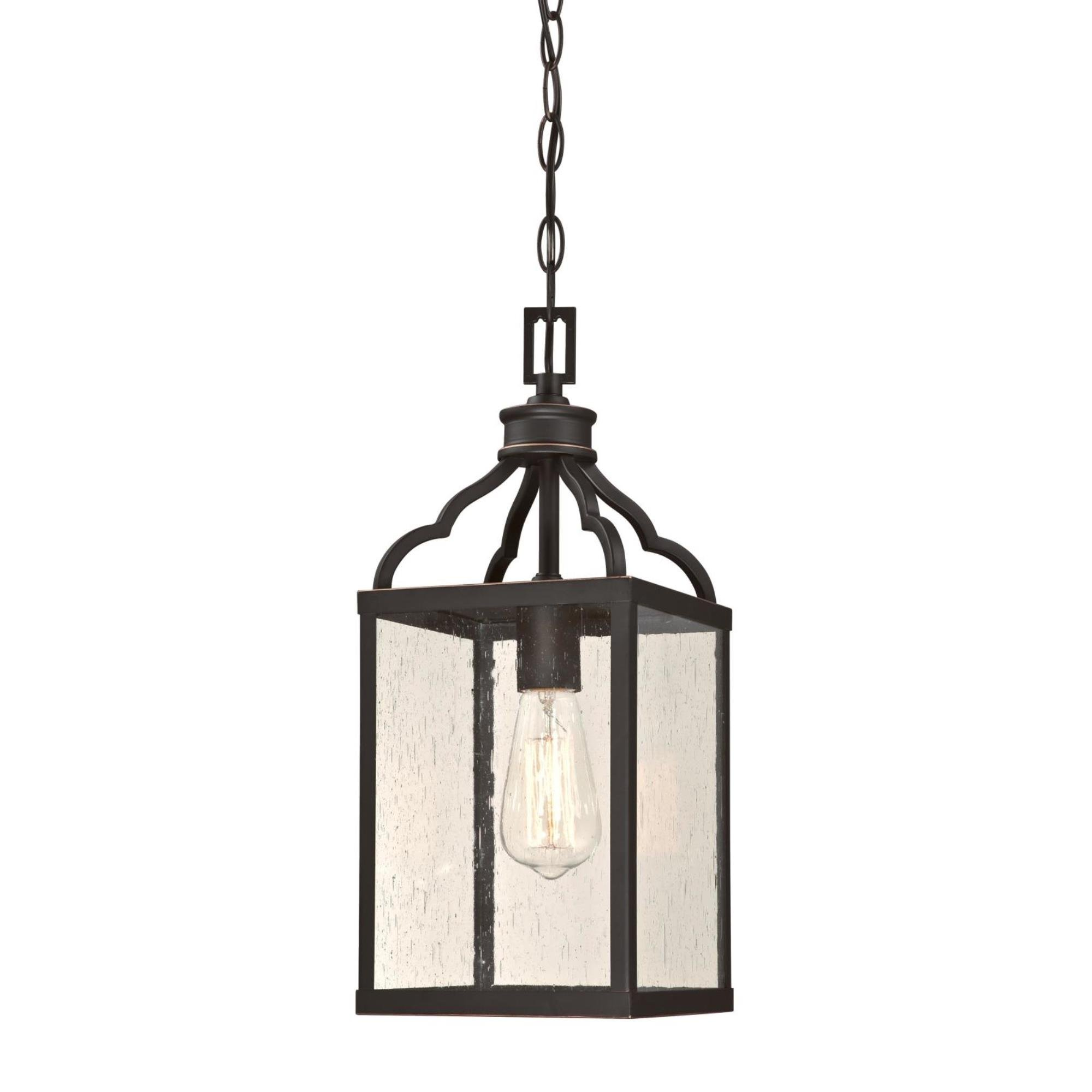 Westinghouse Lighting 6359300 Cardinal One-Light, Oil Rubbed Bronze Finish with Highlights and Clear Seeded Glass Outdoor Pendant, HI