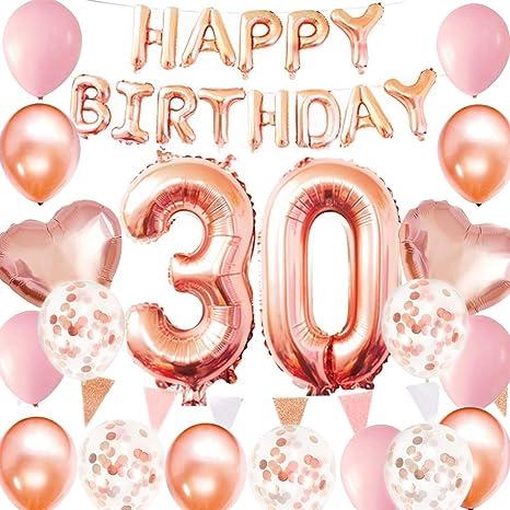 Globos de oro rosa para 30 cumpleaños, 30 cumpleaños para ...