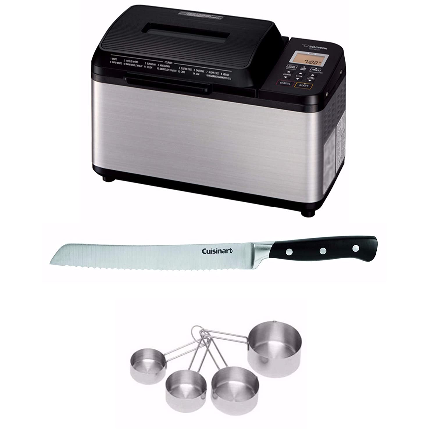 "Zojirushi BB-PDC20BA Home Bakery Virtuoso Plus Breadmaker, 2 lb. loaf of bread, Stainless Steel/Black Includes 8"" Bread Knife with Blade Guard, 4 Piece Stainless Steel Measuring Cup Set and Bread Book"