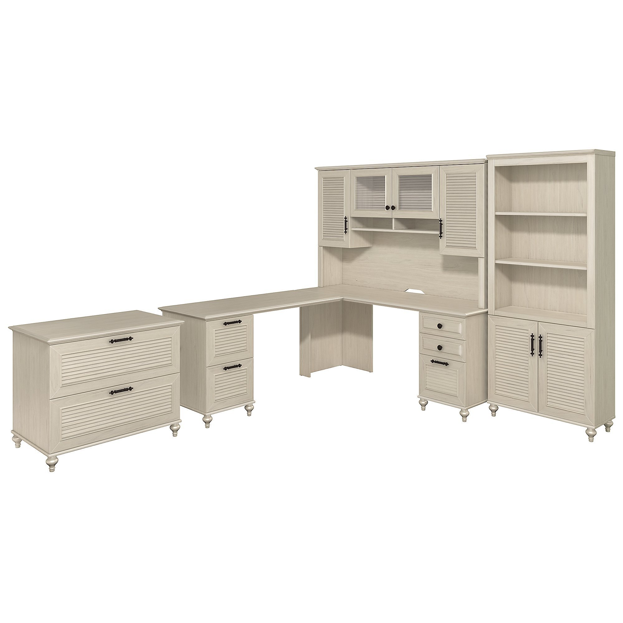 kathy ireland Home by Bush Furniture Volcano Dusk L Shaped Desk with Hutch, Bookcase & Lateral File Cabinet in Driftwood Dreams by kathy ireland Home by Bush Furniture
