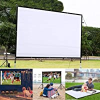 Sunywear Portable Folding HD Projector Screen, Anti-Crease Indoor Outdoor Projector Movies Screen for Home, 4 Screen Size 60inch, 72inch, 84inch, 92inch