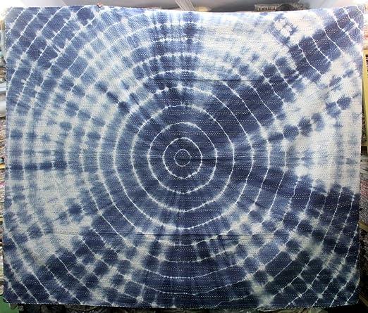 craftofpinkcity acolchado azul Tie Dye Kantha cama propagación, reina algodón acolchado manta para cama de ...