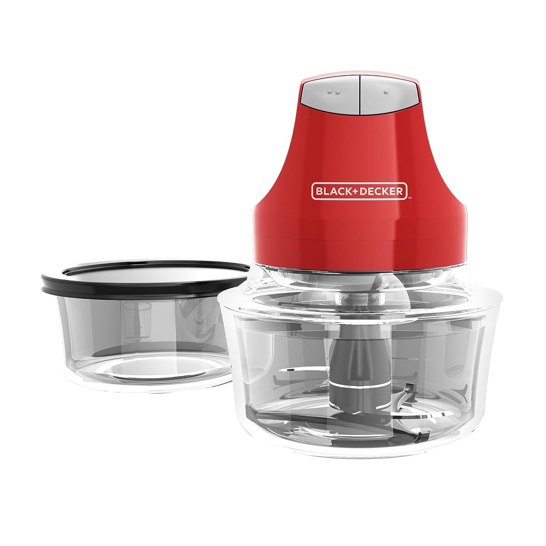Contains Two 4-Cup Bowls and Lids plus Chopper Red Black /& Decker EHC3002R BLACK+DECKER EHC3002B Glass Bowl Chopper