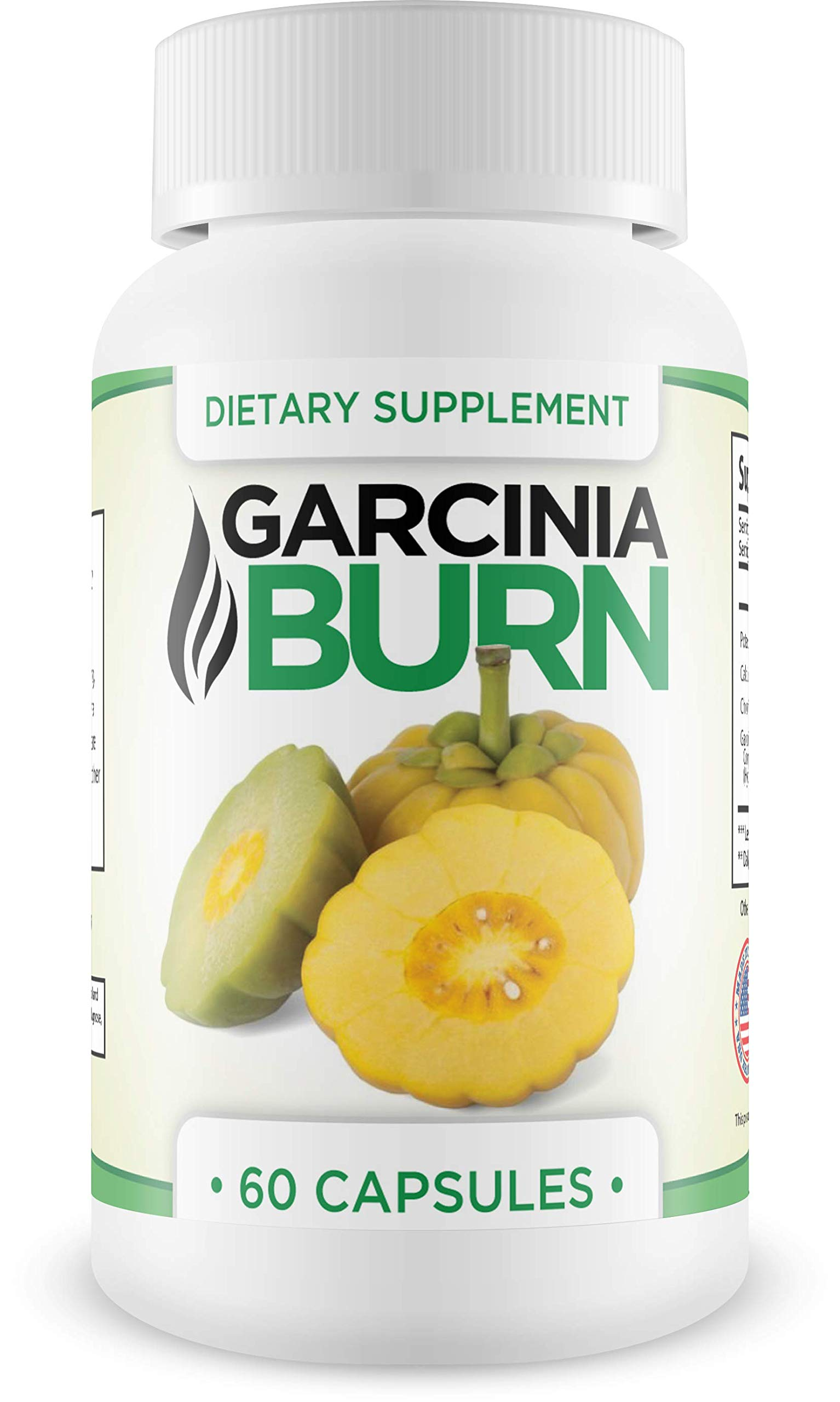 Garcinia Burn- Dietary Supplement Weight Loss Supplement and Appetite Suppressant, Metabolism Booster, Carb Blocker & Belly Fat Burner for Men and Women. 100% All Natural & Non-GMO. Made in The USA by BURN Supplements