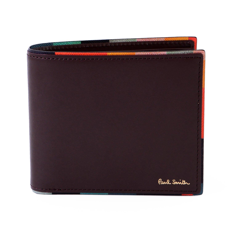 [名入れ可] (ポールスミス) Paul Smith ストライプポイント レザー ウォレット 本革 二つ折り 財布 873181P514 ショップバッグ付 B07BP1T2NHバーガンディ 名入れなし