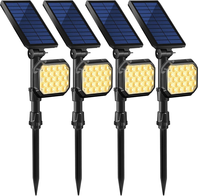 MZVUL 22 LED Solar Lights Outdoor, Waterproof Solar Landscape Spotlights 2-in-1 Adjustable Solar Wall Light Auto On/Off Solar Powered Landscape Lighting for Yard Garden Pathway Pool,Warm White(4 Pack)