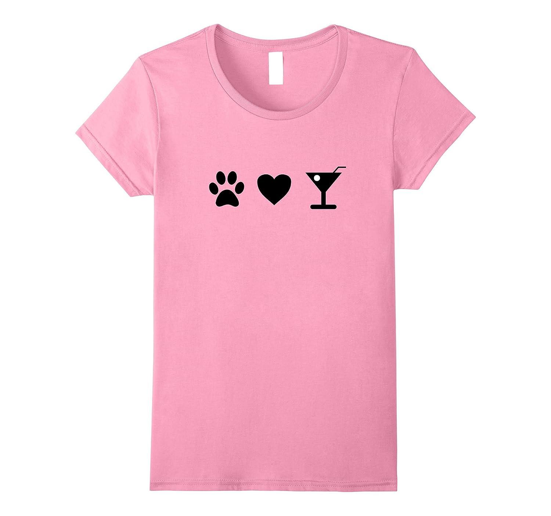 Womens Paw Print Heart Martini Shirt Tshirt Fun Drink-TH