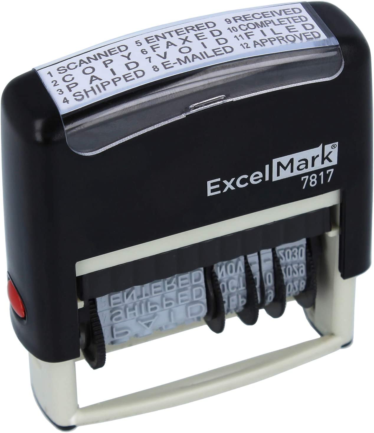 ExcelMark 12 Phrase Self-Inking Date Stamp - 2
